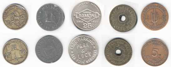 The history channel club 1776; Missouri. Sales tax receipt; Diamond. Parking service; Tax token 1941; Arizona state. Tax commission